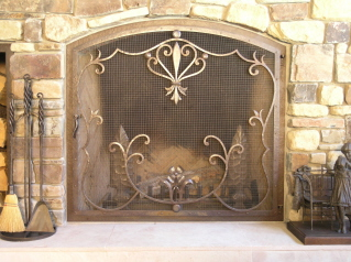 Flower Scrolls Fire Screen